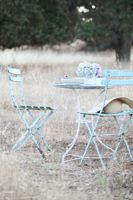 A Pair of Vintage French Blue Bistro Chairs