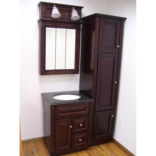 Vanity Light Bar Update : Four-Piece Heritage Cherry Bathroom Set