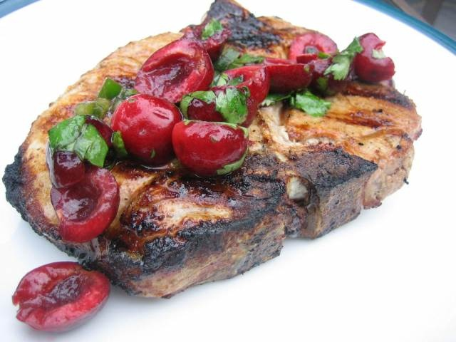 Pork Chops with cherry salsa! Sounds exciting!