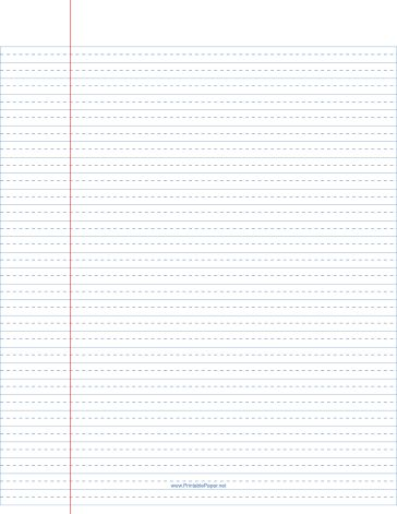 Printable lined paper wide ruled with dashed center