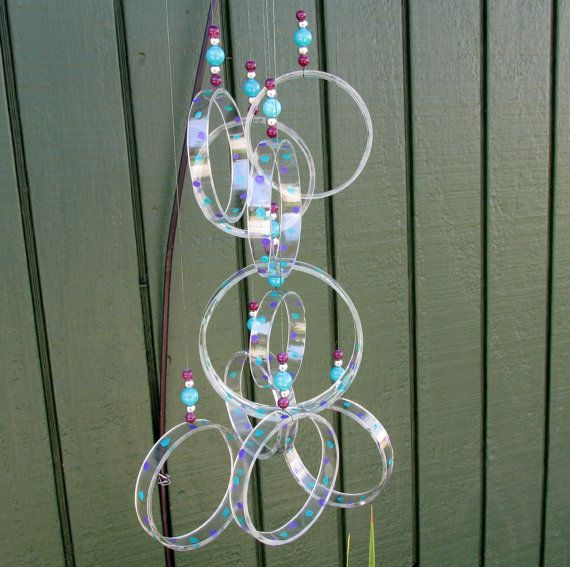 Upcycled wine bottle wind chime clear glass circle chime for Glass bottle wind chimes