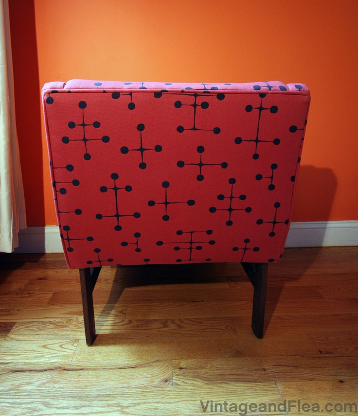 Read the post on our diy chair upholsterery project.  #vintage, #diy, #homedecor, #chairdiy, #eames