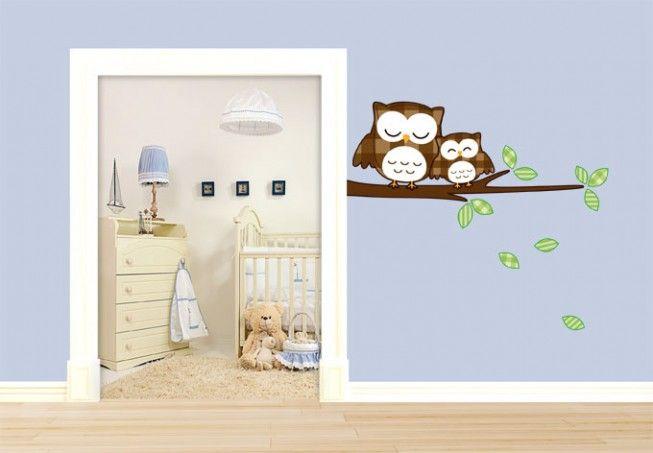 Babykamer Tweeling Ideeen : Baby Owl Wall Sticker