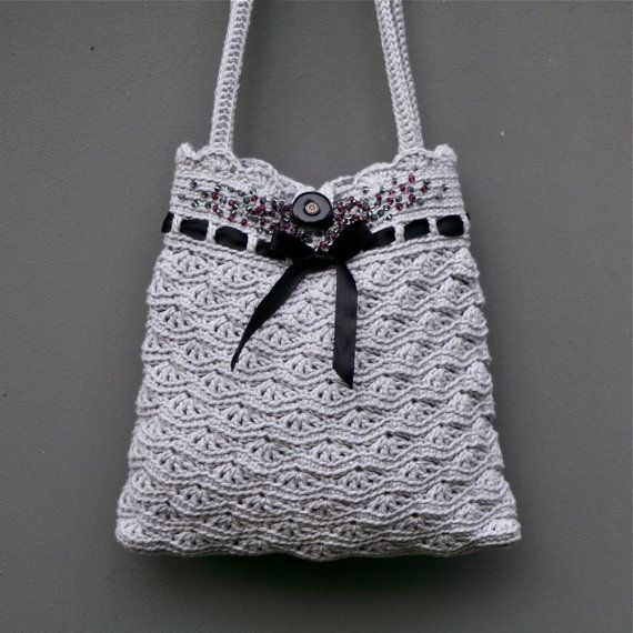 Crochet Bag Pattern Pdf : Grey Crochet Purse Small Bag - PDF PATTERN