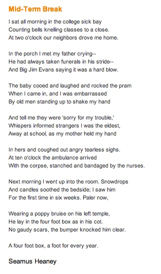 essay on the poem mid-term break Mid-term break - seamus heaney mid-term break by seamus heaney is a poem which looks at the feelings and attitudes of a loss of a close relative using word choice, alliteration, repetition, imagery and enjambment.