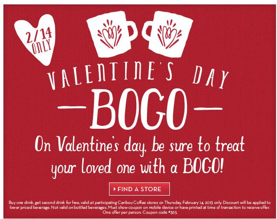 valentine's day bogo caribou coffee