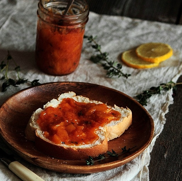 Bourbon Peach & Thyme Jam - I want to slather this over all over a ...