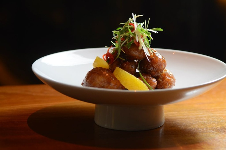 """Divine great date night """"orange chicken"""" style sweetbreads, scallio..."""