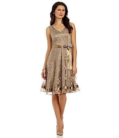 Tahari Metallic Lace Dress Dillards