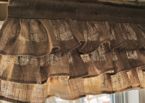 Burlap Ruffled Valance by PaulaAndErika on Etsy, $50.00  hoping to get these custom made for my kitchen windows- finally getting around to window treatments a yr later :)