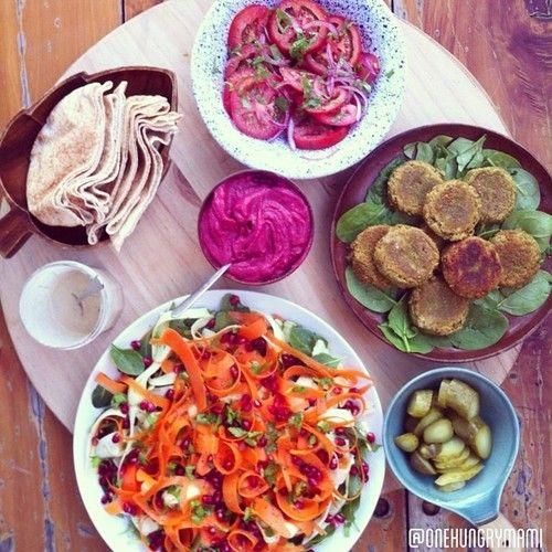 felafels, carrot & pomegranate salad, lemon tahini sauce, white bean ...