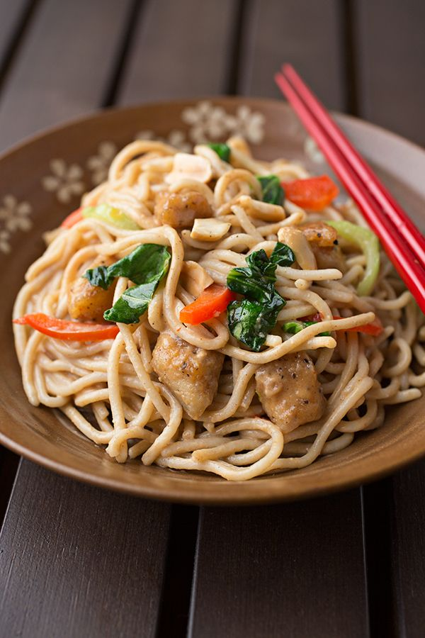 saucy peanut chicken with veggies and noodles