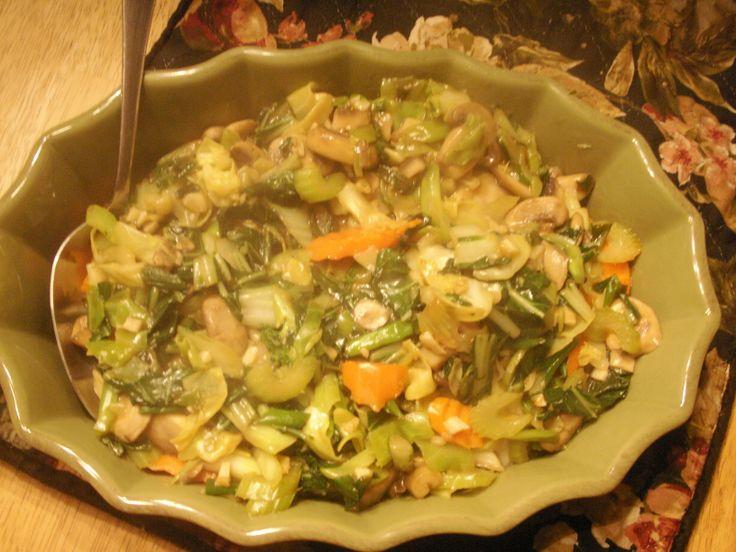 Vegetable Stir Fry: Bok Choy ( green leaves only) Carrots, Celery ...