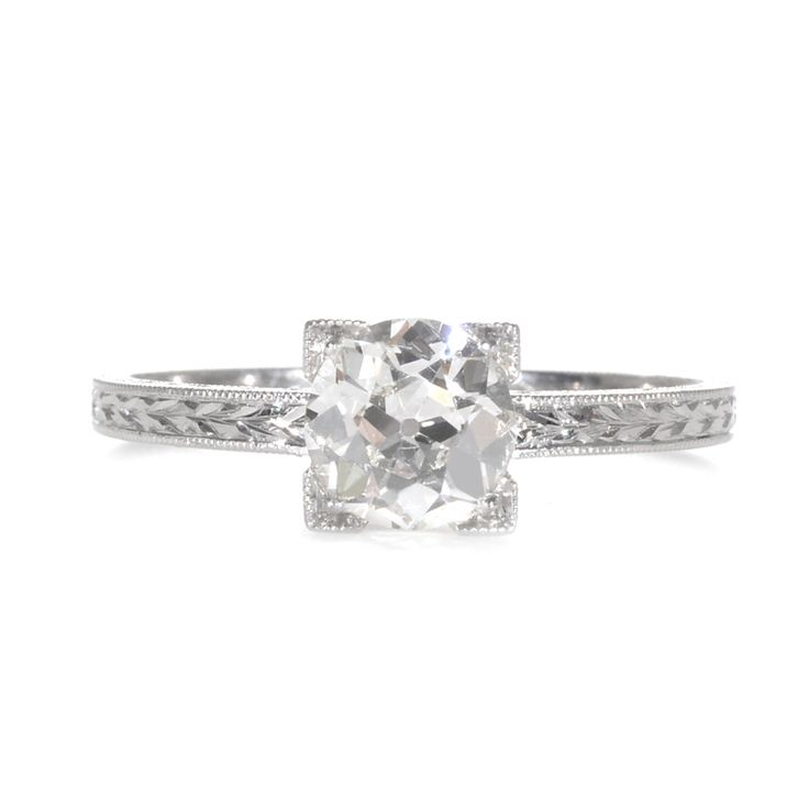 Single Stone Square Shaped Old European Cut Diamond Engagement Ring