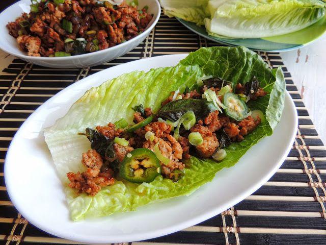 Spicy Thai Basil Chicken Lettuce Wraps (Gluten Free)