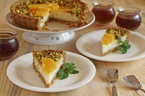 ... Yogurt Tart (Tarte Au Yaourt) With Fresh Orange & Pistachios, In An