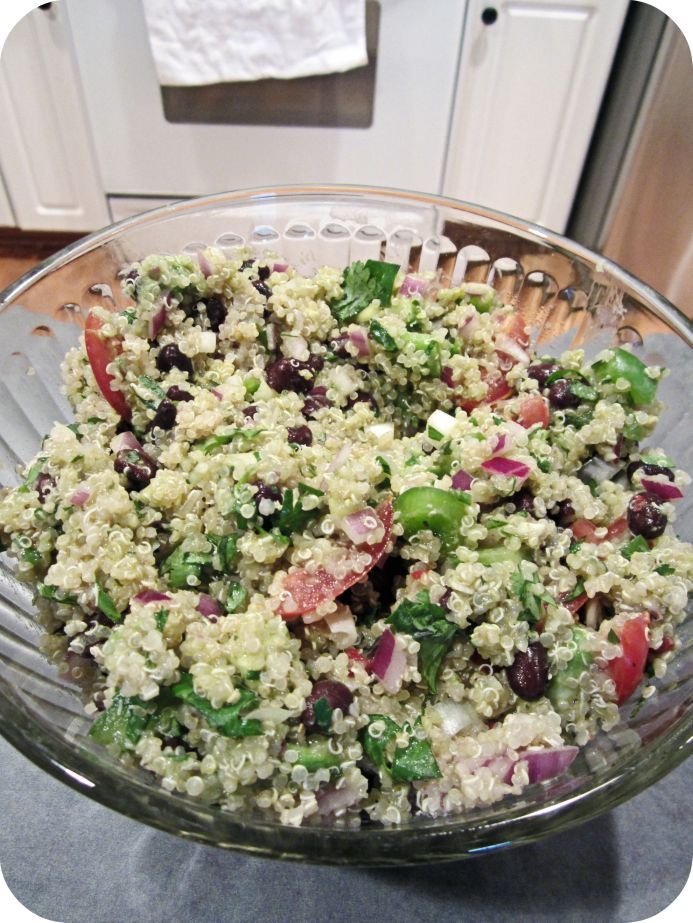 Quinoa salad w/ black beans, avacodo, tomatoes and cumin/lime dressing