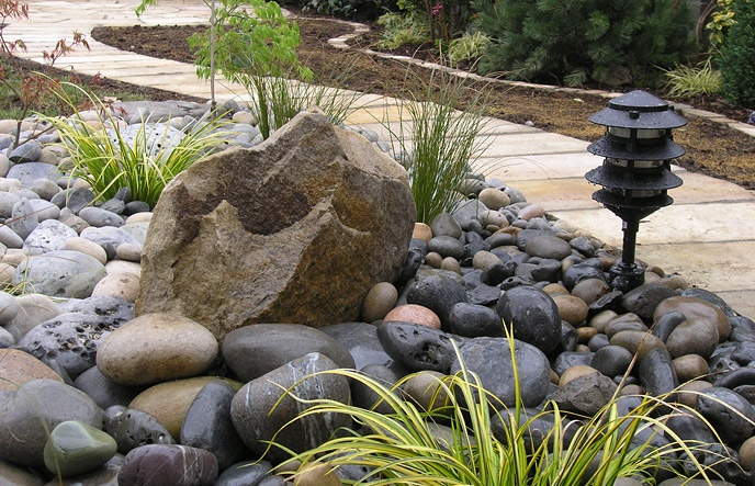 landscaping rock garden grasses and little turtles and frog