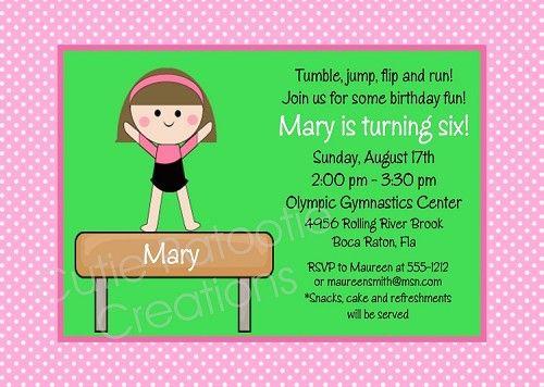 Gymnastics Party Invitations for perfect invitation template
