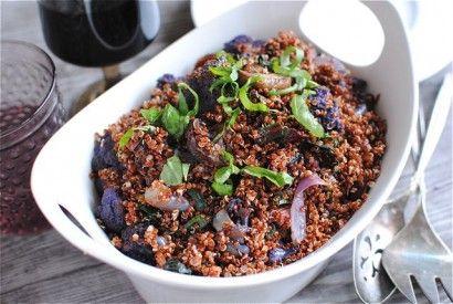 Red Quinoa with Swiss Chard, Mushrooms and Purple Cauliflower | Tasty ...
