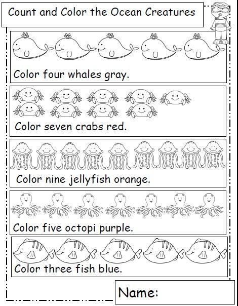 Ocean animals for kids worksheets