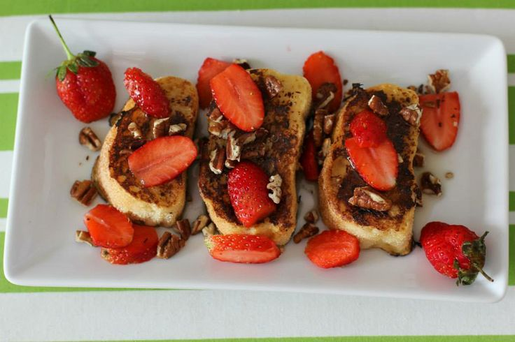 bean-spiced French Toast drenched in maple syrup with strawberries ...