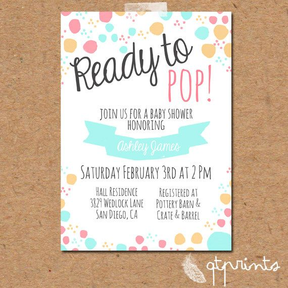 ready to pop baby shower invitation by qtprints on etsy