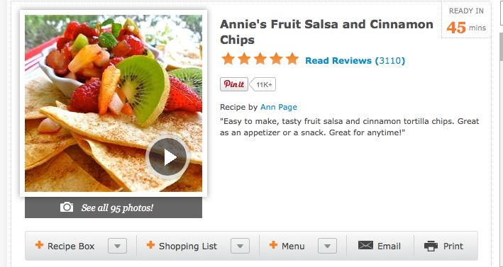 What's for supper?: Annie's Fruit Salsa and Cinnamon Chips