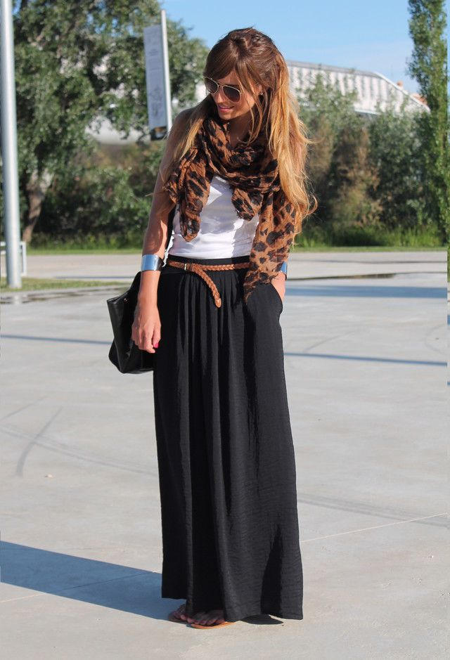 black maxi, white tank, leopard scarf