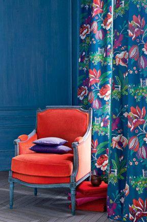 Manuel Canovas Parfum dete fabric in Bleu Canard from Geraldine Cooper