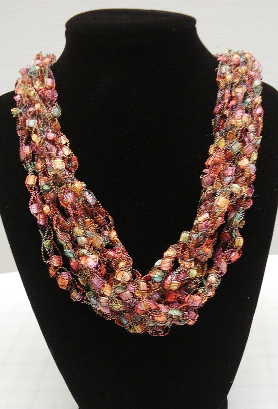 free crochet ladder yarn necklace pattern manet for