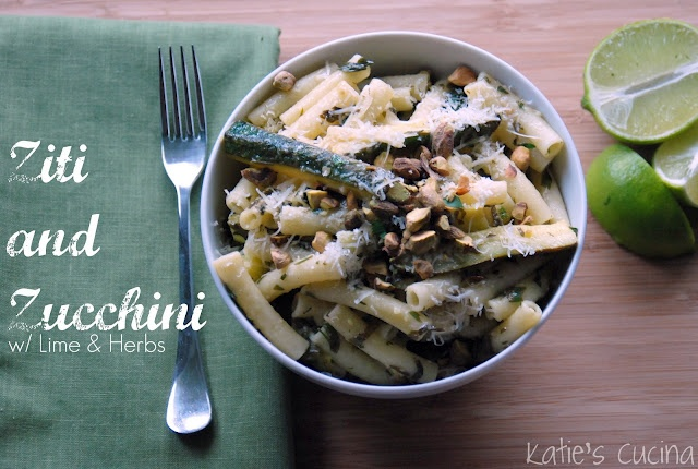 Ziti and Zucchini with Lime & Herbs (awesome pasta @Katie Jasiewicz cooked up!! Can't wait to try)