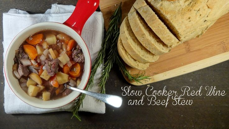 Slow cooker red wine and beef stew. Warm winter / fall comfort food.