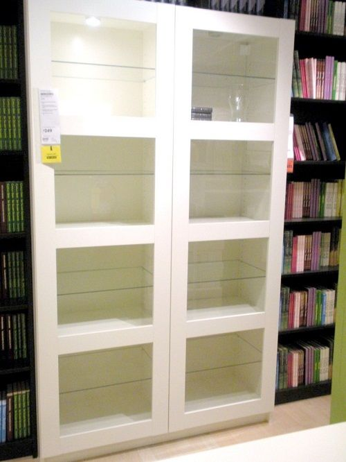White bookcase with glass doors  Home Door Ideas  Pinterest