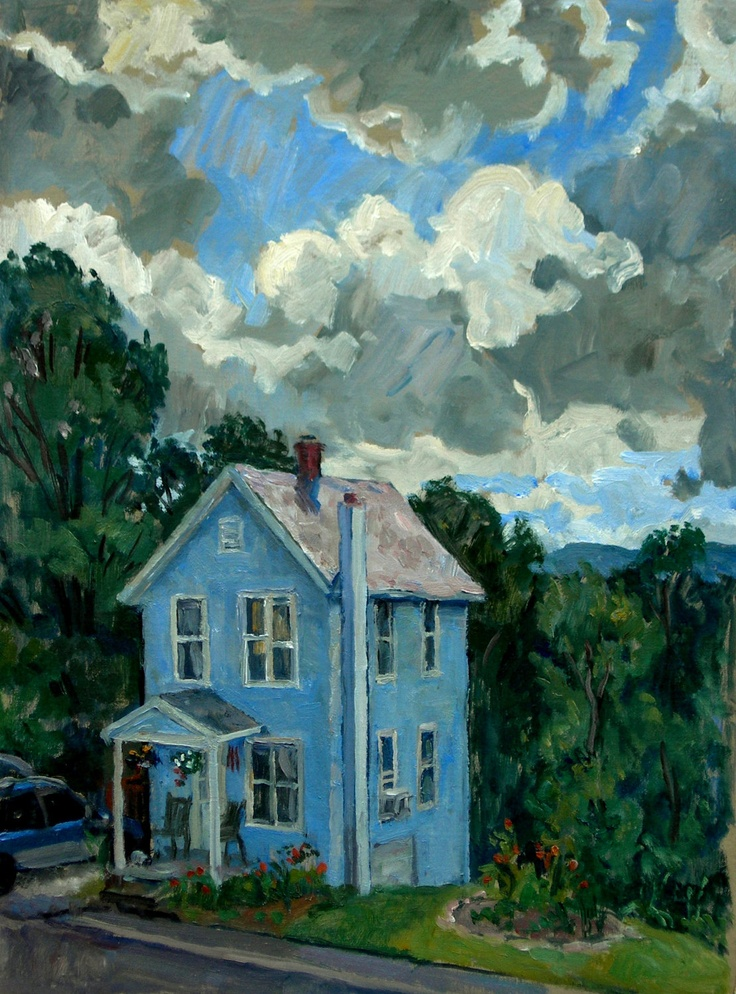 Cloudy Afternoon, Front Porch. Oil on Linen, Original 12x16 Impressionist Painting. 350.00, via Etsy.
