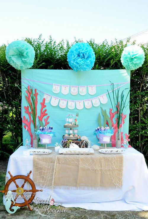 Little mermaid birthday party decorations diy printable for Ariel birthday party decoration ideas
