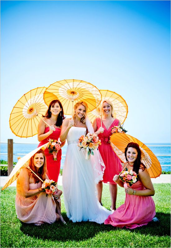 pink bridesmaid dresses photographed by True Photography