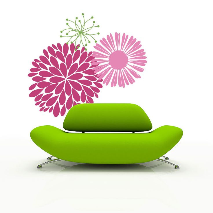 Vinyl Wall Decal Mod Flowers large wall stickers