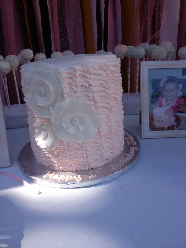Pink ruffle tower cake | Juliettas 1st Bday | Pinterest