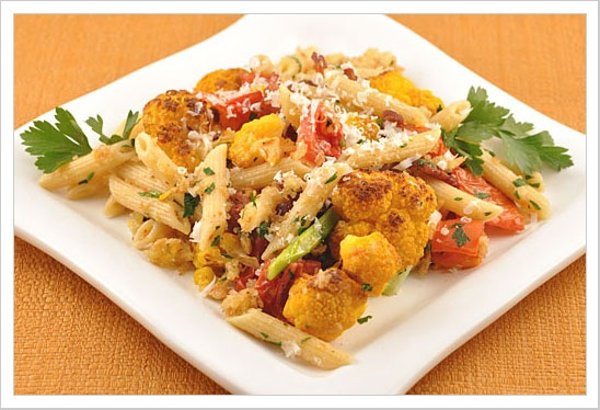 Penne with Roasted Cauliflower, Bacon and Campari Tomatoes ...