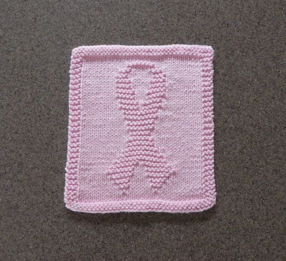 Breast Cancer Knitting Patterns : Knit Dishcloth Breast Cancer Awareness Ribbon ~ Beauty Cloth ~ Pink 1?