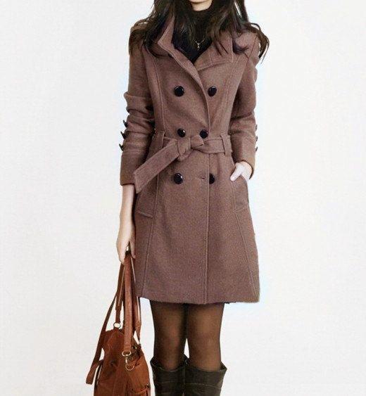 Black Women coats OL Wool coat Cashmere winter coat Hood cloak Hoodie