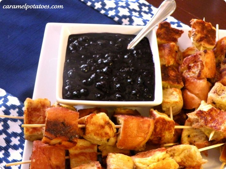 French Toast Skewers with Blueberry Compote