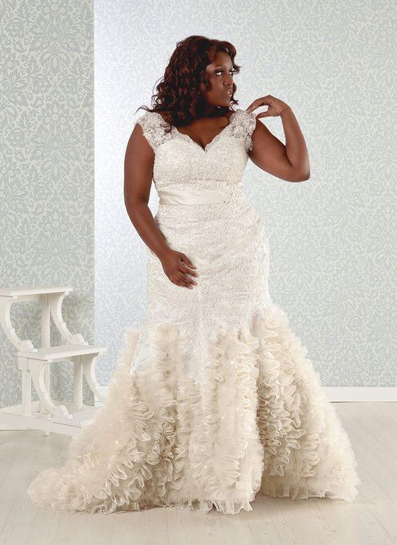 V Line Mermaid Wedding Dress : Plus size wedding dress aline mermaid trumpet by realsizebride