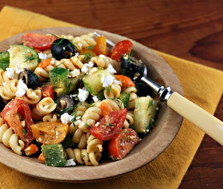 Even in midwinter, this brightly flavored Greek pasta salad transports me to the Mediterranean!