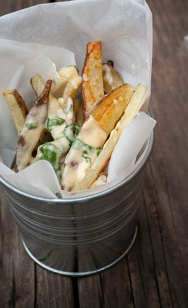 Boardwalk Fries with Homemade Cheese Sauce and Spinach | http ...