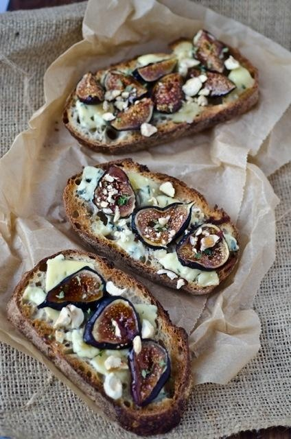 Roasted Fig, blue cheese and honey tartines....mmmmm this has to be ...