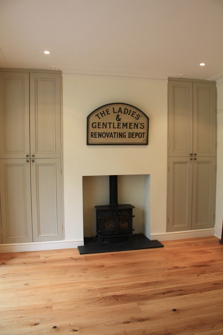 Alcove Cabinets In Farrow And Ball Old White Wood Burning