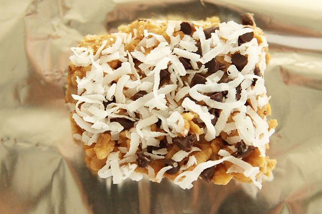 peanut butter, chocolate, coconut rice krispie treats