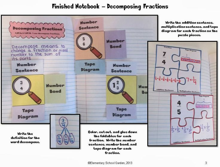 Decomposing Fractions Fractions Interactive Notebook - 4th Grade